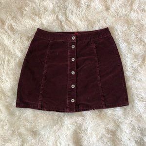 Purple button up jean skirt